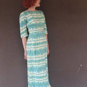 Vintage 1960's Blue Floral and Rhinestone Maxi